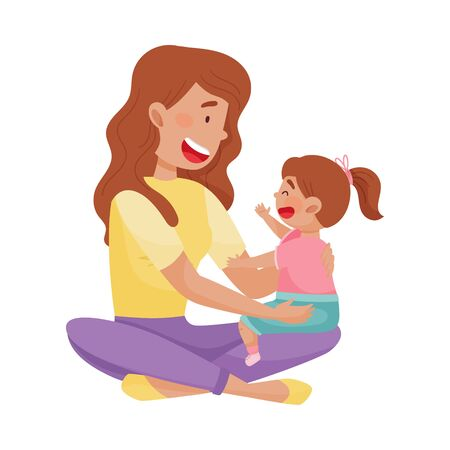 Young Mother and Her Little Baby Having Fun Together Vector Illustration. Woman Spending Time Playing with Her Kid. Motherhood and Childcare Concept
