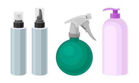 Hair Cosmetics for Barbershop or Hairdressing Saloon with Lotion Bottle and Shampoo Vector Set 일러스트