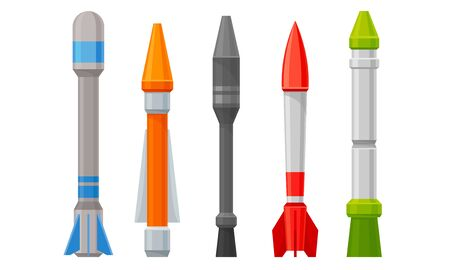 Military Guided Missiles of Different Color and Shape Vector Set