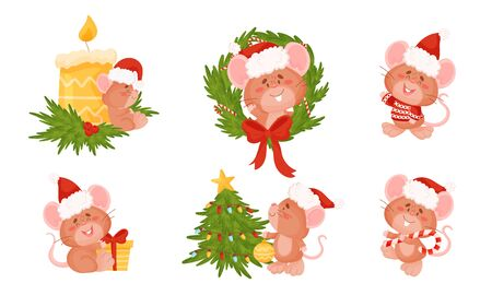 Cute Mouse with Long Tail and Protruding Ears Decorating Christmas Tree and Holding Candy Stick Vector Set