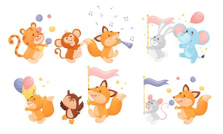Animals Playing Flute, Carrying Flags and Juggling the Balls Vector Set. Funny Zoo Creatures Giving Performance Concept