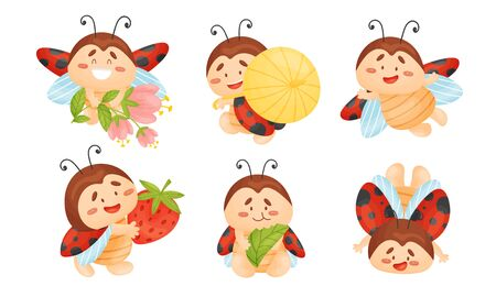 Cartoon Ladybug Eating Green Leaf and Carrying Ripe Strawberry Vector Set. Funny Insect with Spotted Wings Engaged in Different Activities 向量圖像