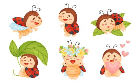 Cartoon Ladybug Sleeping on Green Leaf and Holding Heart Vector Set. Funny Insect with Spotted Wings Engaged in Different Activities Illusztráció