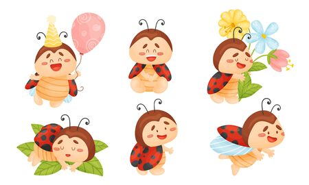 Cartoon Ladybug Sleeping on Green Leaf and Holding Balloon Vector Set. Funny Insect with Spotted Wings Engaged in Different Activities