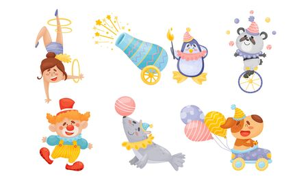 Circus Artists with Animals Cycling and Driving Car Vector Set. Street Performance and Amusement for Kids Concept