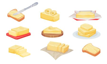 Butter Slices and Rolls Rested on Cutting Board Vector Set Vettoriali