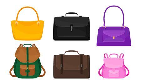Handbags and Rucksacks Isolated on White Background Vector Set 矢量图像