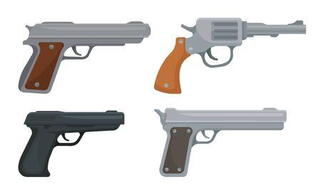 Handguns or Pistol Models with Firing Trigger for Hunting Vector Set Vecteurs