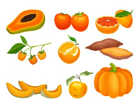Orange Vegetables and Fruits with Ripe Sharon Fruit and Pumpkin Vector Set. Proper and Healthy Nutrition for Well Balanced Diet Concept