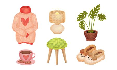 Warm and Cozy Home Things Like Hot Tea with Cookies and Knitted Sweater Vector Set