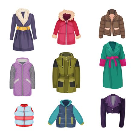 Autumnal and Winter Outerwear with Long Sleeved Clothing Items Vector Set Ilustracje wektorowe