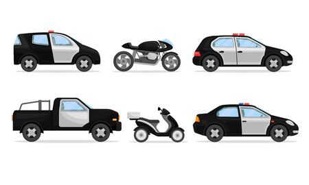 Police Vehicles with Patrol Car and Motorcycle Vector Set. Transportation for Police Street Service Performance Illustration