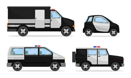 Police Vehicles with Patrol Car and Van Vector Set