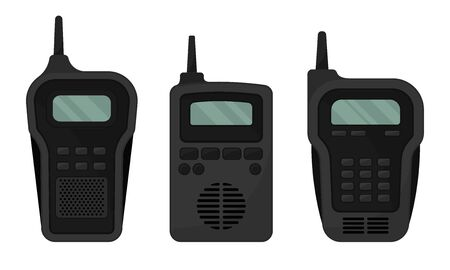 Black Portable Radio Device or Walkie Talkie with Antenna Vector Set 向量圖像