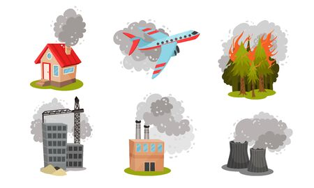 Air Pollution Sources with Industrial Radioactive Waste and Smoke Vector Scene Set. Air Contamination and Environmental Problem Concept
