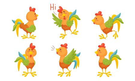 Rooster Funny Character with Bright Feathers Singing and Greeting Vector Set. Humanized Domestic Bird Engaged in Different Activity