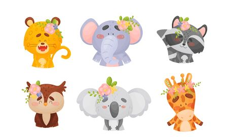 Cartoon Animals with Flowers on Their Heads Vector Set