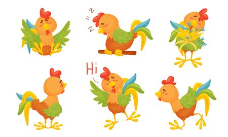 Rooster Funny Character with Bright Feathers Sleeping on Perch and Greeting Vector Set