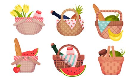 Picnic Baskets Full with Foodstuff Like Fruit and Bread Vector Set
