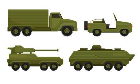 Armored Military Vehicles with Heavy Tank System and Cargo Truck Vector Set Vector Illustration