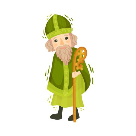 Saint Patrick Catholic Character in Green Clothing Vector Illustration Vectores