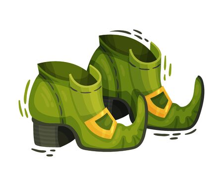 Green Leprechaun Boots as Feast of Saint Patrick Symbol Vector Illustration. Cultural and Religious Celebration