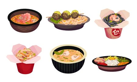 Asian Food with Noodle and Soup in Carton Boxes and Bowls Vector Set. Stir Fried and Steamed Appetizing Main Courses for Restaurant and Takeaway