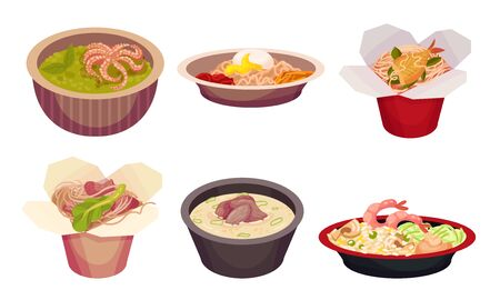 Asian Food with Spicy Noodle and Soup in Carton Boxes and Bowls Vector Set. Stir Fried and Steamed Appetizing Main Courses for Restaurant and Takeaway