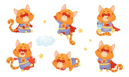 Superhero Cat Wearing Red Cloak and Mask Flying and Holding Fish Vector Set. Brave Cartoon Pet Racing to Rescue Concept