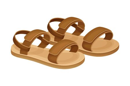 Men Summer Brown Leathery Sandals for Bare Foot Wearing Vector Illustration. Seasonal Footwear as Trendy Element of Contemporary Look Vector Illustration