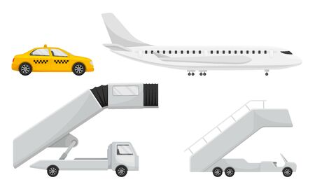 Airport Transportation and Vehicles with Airliner and Catering Vehicle Vector Set. Transport for Luggage and Flying Field Service Concept Illustration