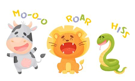Cute Cartoon Animals Making Sounds Vector Illustrations Set. Funny Creatures Talking and Making Noises Concept 向量圖像