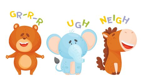 Cute Cartoon Animals Making Sounds Vector Illustrations Set. Funny Creatures Talking and Making Noises Concept 일러스트