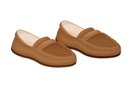 Men Casual Pair of Loafers or Moccasins without Shoelace Isolated on White Background Vector Illustration. Footwear as Trendy Element of Contemporary Look