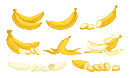 Yellow Banana Fruit Whole and Chopped with Peel and Without Vector Set. Bright Tropical Sweet Fruit for Healthy Eating 向量圖像
