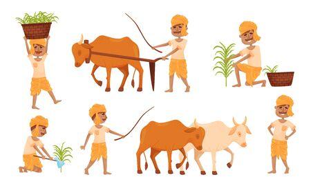Indian Farmer Wearing Turban Cultivating Plants and Soil Yoking Oxen Vector Set Ilustración de vector