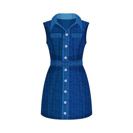 Denim Blue Sleeveless Buttoned Dress with Collar as Womenswear Vector Illustration Çizim