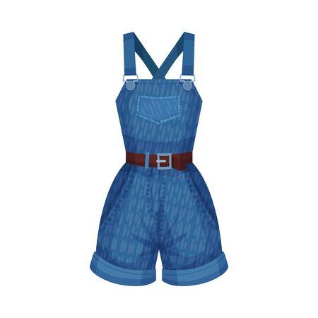 Denim Blue Shortalls or Playsuit with Shoulder Straps and Side Pockets as Womenswear Vector Illustration Çizim
