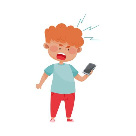 Red Haired Boy Holding Smartphone and Screaming Out Loud Vector Illustration