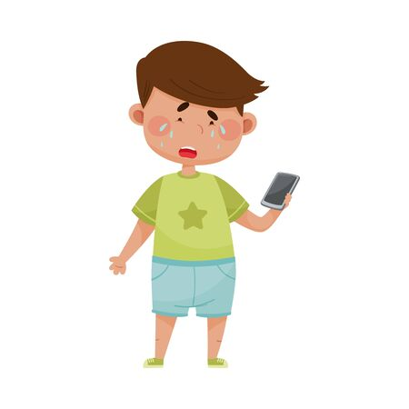 Little Boy Standing with Smartphone in His Hand and Crying Out Loud Vector Illustration