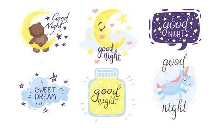 Cute Pictures with Good Night and Sweet Dreams Inscriptions Vector Set. Childish Posters for Bed Time Concept