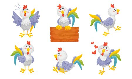 Rooster Funny Character with Bright Feathers Singing and Sitting on Wooden Plank Vector Set
