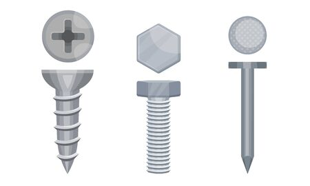 Metal Screws with Steel Bolts and Nails Vector Set