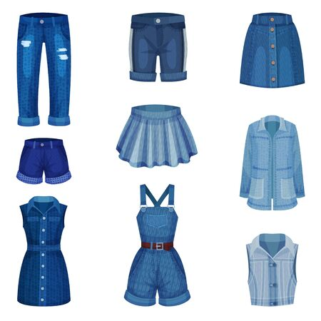 Denim Blue Clothing Items as Womenswear with Denim Shorts and Jeans Vector Set