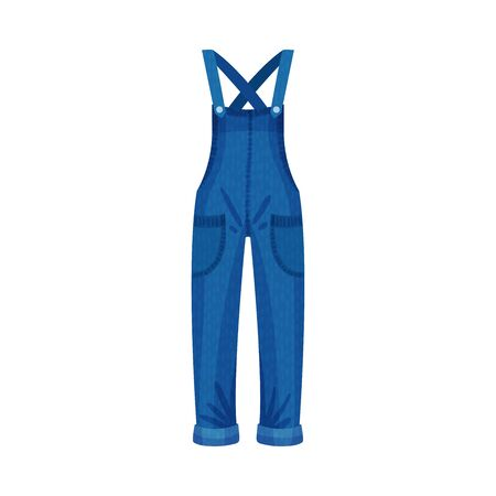 Denim Blue Overall or Jumpsuit with Shoulder Straps and Side Pockets as Womenswear Vector Illustration