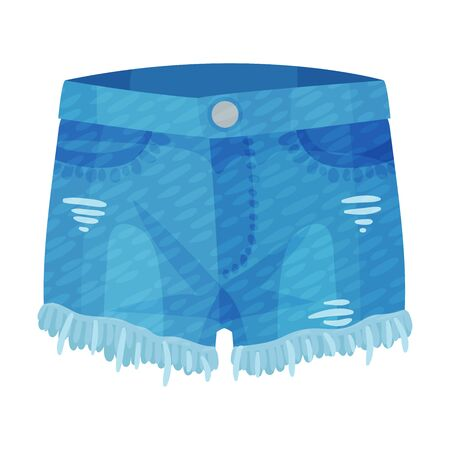 Denim Blue Ripped Shorts with Side Pockets and as Womenswear Vector Illustration Çizim