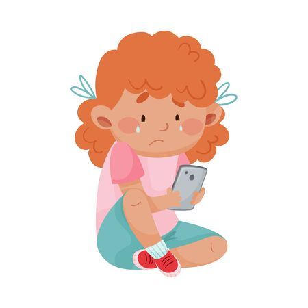 Little Girl Sitting with Smartphone Feeling Unhappy Vector Illustration