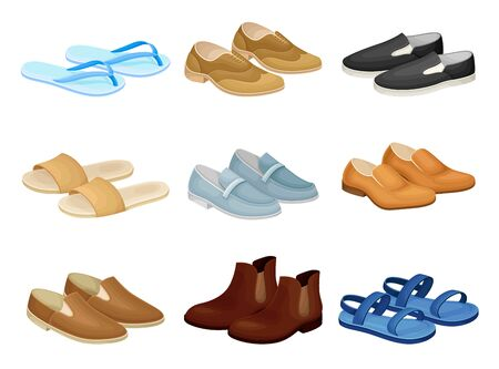 Men Shoes and Sandals Made of Leather and Textile Vector Set