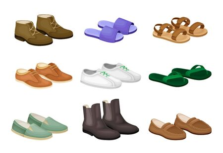 Men Shoes and Sandals Made of Leather and Textile Vector Set. Different Footwear as Trendy Element of Contemporary Look