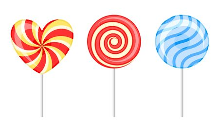 Twisted and Swirling Lollipops on Sticks Vector Set Ilustração